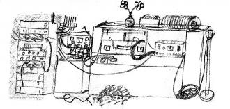 Obr. 1.  Radiouzel . Moje kresba zařízení Radiouzlu zdopisu bráchům Iblovým ze základní vojenské služby.