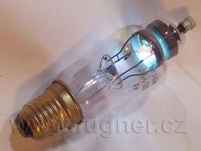 Obr. 1.  Rtuťová usměrňovací elektronka DCG4/1000 při práci nádherně svítila.  Byla schopna usměrnit až 10000 V při proudu 250 mA.