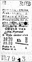 Obr. 3. Jízdenka do Olomouce - Praha hl. n. - Přerov hl. n.  - základní vojenská služba 1957.