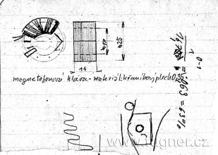 Obr.17. Náčrtek magnetického jádra univerzálni hlavy.