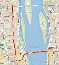 Obr.4. Trasa, kterou Moskvič ujel na starter---1,4km.