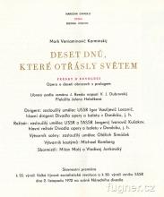 Obr. 1. Titulní strana programu. Národní divadlo rok 1972, hra Deset dnů, které otřásly světem, M. V. Karminskij, Fresky o revoluci.ana-programu-deset-dnu-ktere-otrasly-svetem