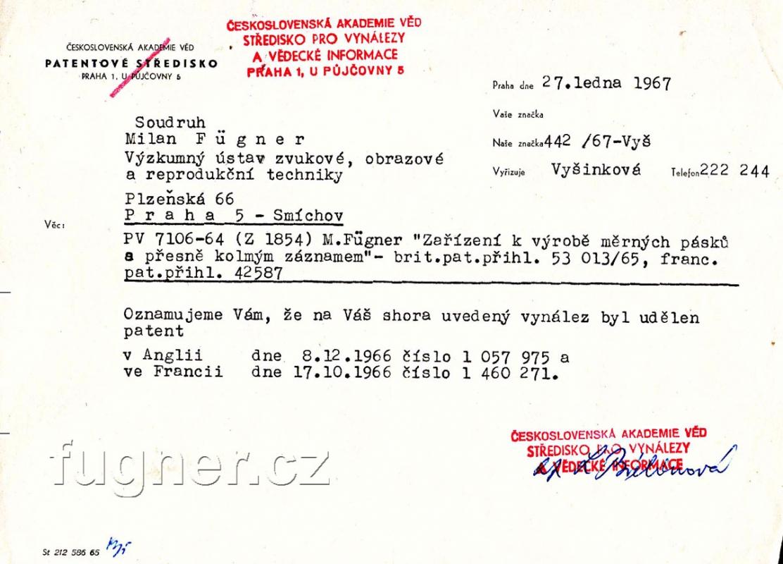 Obr. 1. Patent na zařízení pro výrobu měrných pásků. Informace ze střediska pro vynálezy ČS. Akademie věd.