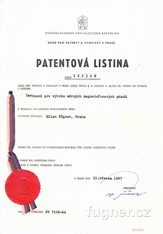 Obr. 2. Patentová listina - udělený patent na zařízení pro výrobu měrných pásků.