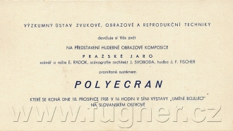 Obr. 1.  Pozvánka Polyecran - polyekran, Pražské jaro, režie Emil Radok, Slovanský ostrov v roce 1958.