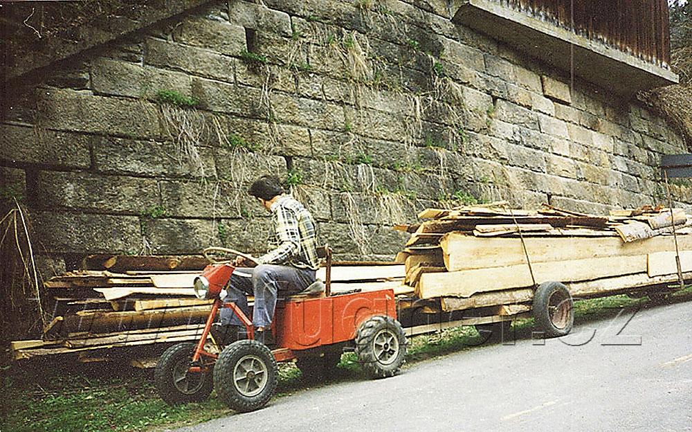 Obr. 27. Elvíra přiváží palivové dřevo z pily.