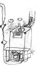 Obr. 2. Moje kresba kamen světrákem zdopisu bráchům Iblovým ze základní vojenské služby.