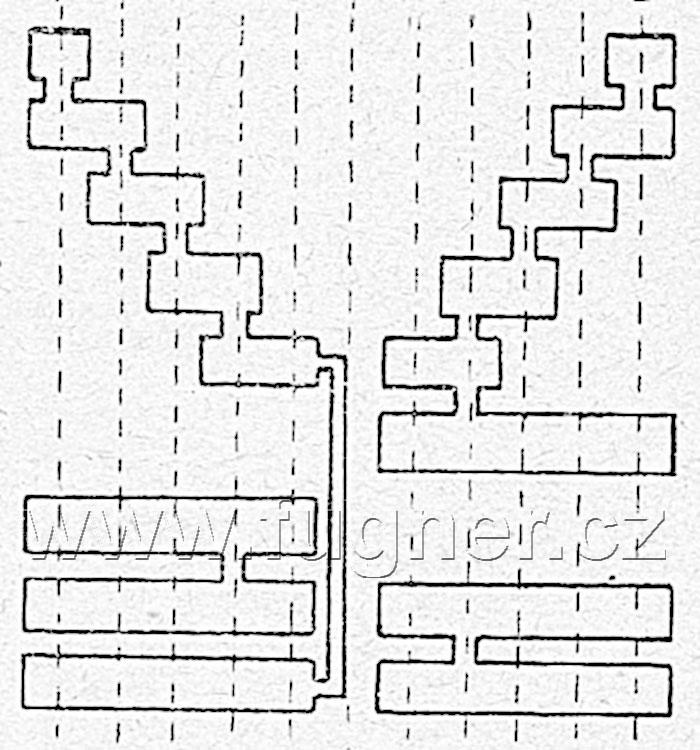 Obr.2. Rozvinutý válec kontroléru směděnými segmenty.