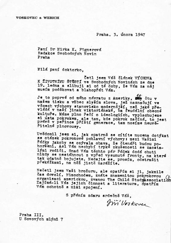 Obr. 4. Dopis pana Voskovce mamince