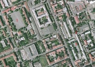 Obr. 2. Umístění budov pro představu vzdáleností - základní vojenská služba v roce 1957.