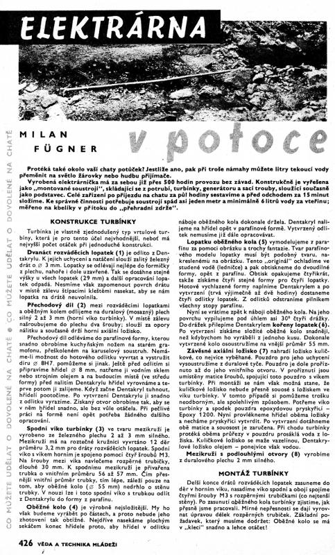Článek - Věda a technika - Malá vodní elektrárna část 1