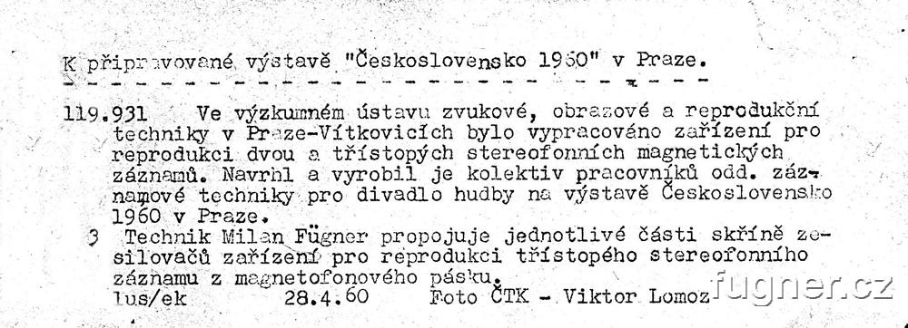 Obr. 1b. Technik Milan Fügner propojuje jednotlivé části skříně zesilovačů. Foto ČTK.  Výstava Československo 1960 - Bruselský pavilon.