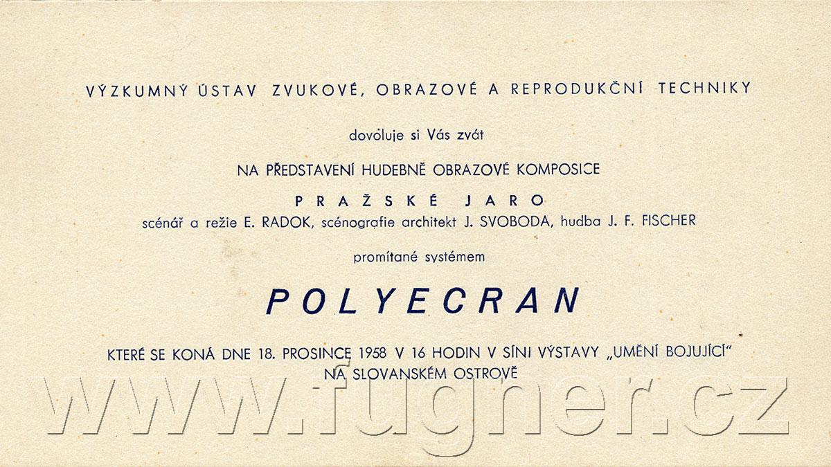 Polyekran - Světová výstava Expo 1958 Brusel - Československý pavilon - polyecran